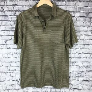 Pataginia Mens Green Striped Short Sleeve Organic